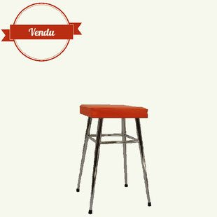 Tabouret 1970, orange, chromé