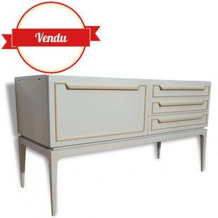 enfilade blanche scandinave 1960, pieds compas, tiroirs,basse,1960,vintage,design, meuble d'entrée,couloir,chambre