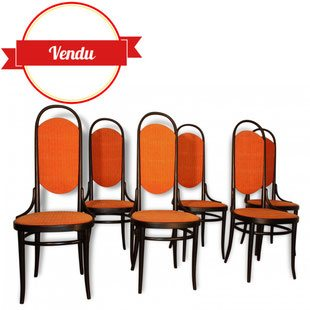 chaises Thonet, 1970, orange, noir, vintage