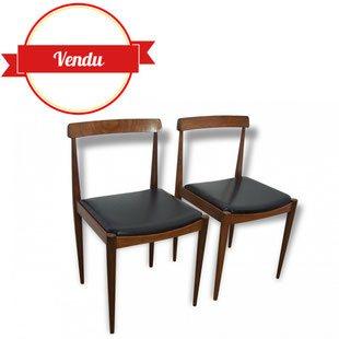 paire de chaises, chaise, scandinave, hans olsen, arne ovamn olsen,vintage, teck, simili,cuir,noir