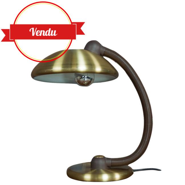 lampe vintage, lampe laiton, laiton, bureau, or, dorée, allemande,scandinave,1960,1970,1950
