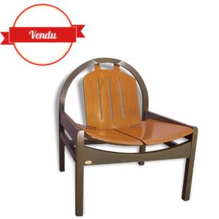 baumann,vintage,fauteuil baumann,francais,français,vintage,robuste ,bois,gris,vert