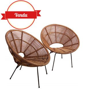 fauteuil,dirk jan rol,rotin,janine,abraham,vintage,1950, rotin, soleil, ancien,1960,métal,corbeille