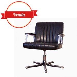 fauteuil de bureau cuir noir Osvaldo Borsani, Tecno ,cuir,noir,p 128,modus,tecno,osvaldo,borsani,tecno,vintage,haut de gamme,aluminium,étoile,1970,1960