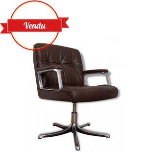 Fauteuil,bureau,Osvaldo Borsani, Tecno, 1972, cuir, marron, brun ,vintage, design, iconique