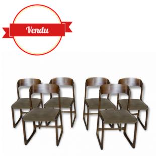 6 chaises, chaise, vintage, baumann, traineau, luge, bois, 1960, velours,marron