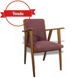fauteuil, 1950, 1960, freespan, mauve, violet, tissu, bois, compas