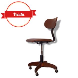chaise de bureau, fauteuil, havane, marron, bois, avant guerre,polster gleich,roulettes,ergonomique,piétement bois