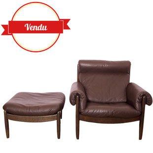 fauteuil, vintage, scandinave, cuir, ottoman , vintage, 1960, bois, compas, superbe, marron