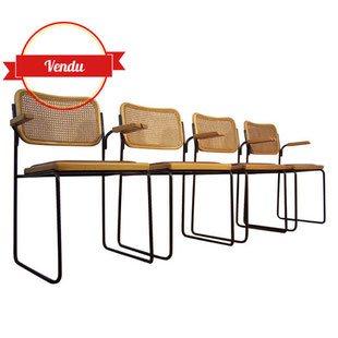 chaises,fauteuils,bois,métal,vintage,simili cuir,confortable,cannage,cannées,1970,1960,1950,marcel breuer,design,indus,industriel,loft