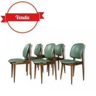 Suite de 6 chaises vintage, design Pierre Guariche 1950, bois courbé, simili cui, vert