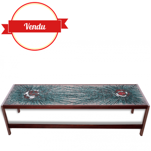 Table basse XL scandinave céramique vintage moderniste, salon,vintage,céramique,faience,scandinave,moderniste,colorée,1950,1960,bois,chrome,rectangulaire,xl,longue,grande