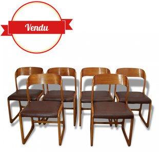 chaises, vintage ,Baumann, 1960, simili cuir, bois courbé, traineau, luge, arrondi