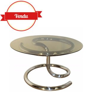 Table basse Anaconda 1970, design Pau, Tuttle, table, 1970, design, table design, table basse design, table chrome, table basse verre,ronde,vintage, table basse vintage, space age, table space age, 1970, table serpent, serpent, anaconda, verre fumé,1960