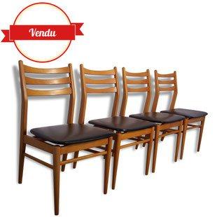 chaise,chaises,scandinave,simili,cuir,vintage,bois,jolies,1960,1950,retro,moderne,brocante