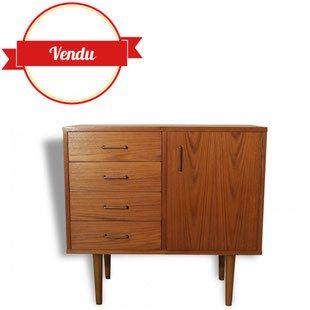 meuble, scandinave, 1960, vintage pieds compas, 1950, compas,teck,chromé,tiroir,commode,enfilade,chambre,buffet,entrée