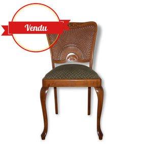 Chaises chippendale, chaise dossier canné, chaise pied galbé, régence, canné, cannage, bois, chaise bois, vintage, chic