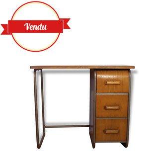 bureau,vintage,bois,métal,écolier,ecole,tiroir arrondi,indus,industriel,strafor