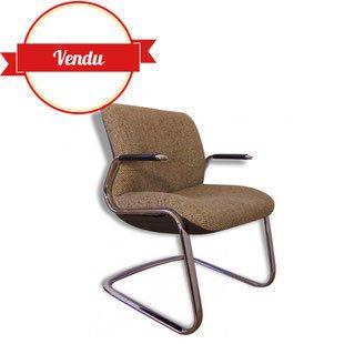 fauteuil,bureau,strafor,steelcase,cantilever,laine chiné,chromé,accoudoirs,suspendu,coque,scandinave