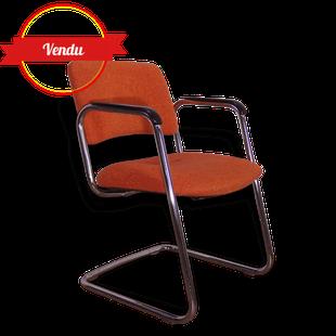 fauteuil,bureau,strafor,steelcase,orange,tissu,chrome,chromé,vintage,1970,ancien,cantilever,qualité,confortable,noir
