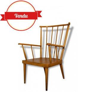 fauteuil,eventail,baumann,vintage,bois,coussins,vert,fleur