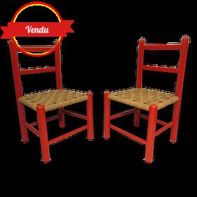Chaises enfant bois rouge vintage deco