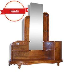meuble, art, deco, coiffeuse, 1950,1960,1940,ébeniste,vintage,miroir,noyer,1930