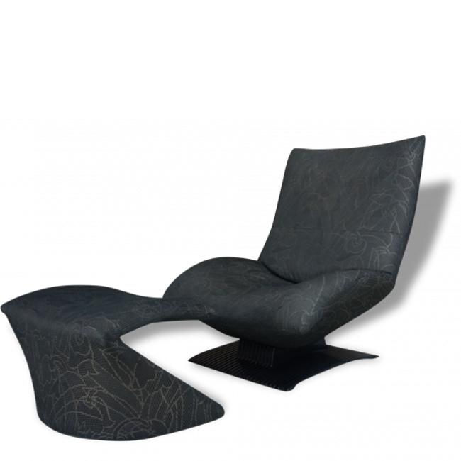 Fauteuil lounge chair et ottoman Artifort Peter Van Der Ham, repose pied,design,vintage,noir,tissu,peter van der ham,artifort,exceptionnel,confortable,iconique