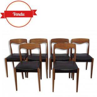 chaise,chaises,niels,otto,moller,scandinave,danoises,teck,simili,cuir,vintage,1960,1950,noir