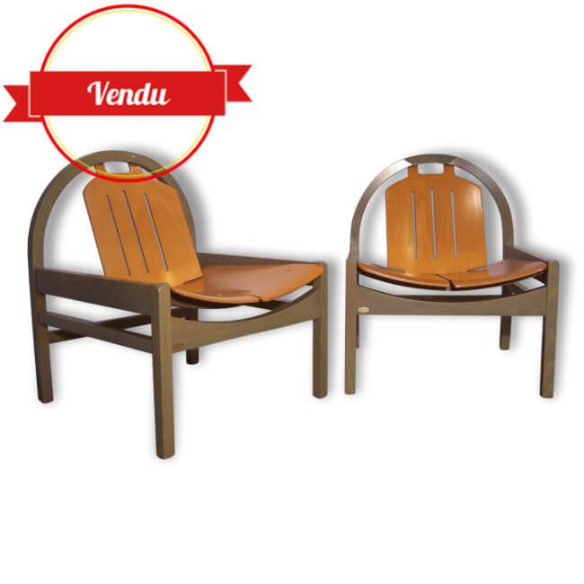 2 fauteuils lounge baumann gris majdeltier boutique en ligne. Black Bedroom Furniture Sets. Home Design Ideas