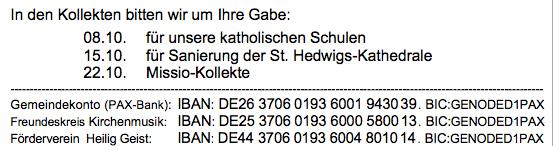 Kollekte in Heilig Geist Berlin