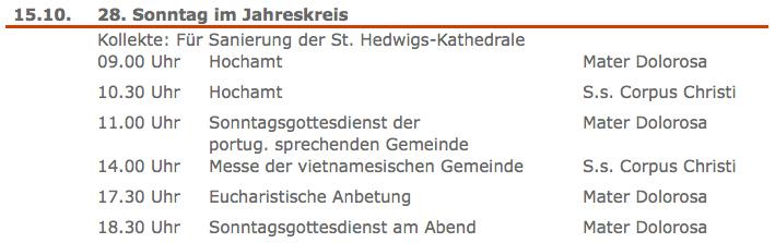 Kollekte in Ss.Corpus Christi Berlin