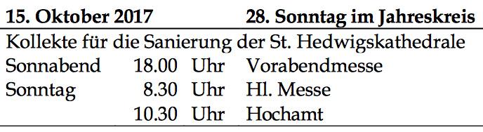 Kollekte in St. Konrad-Falkensee