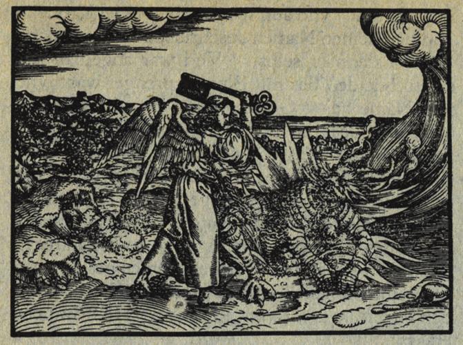 Monogrammist MS .  Der Engel mit dem Schlüssel zum Abgrund bindet den Drachen auf tausend Jahre. Lutherbibel 1534 Holzschnitt Nr. 126