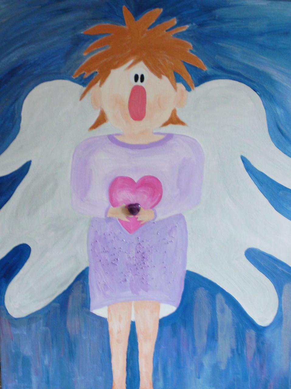 Lustiger Engel der Liebe und Mitgefühl     Höhe/Breite 80x60 cm/Tiefe 2cm