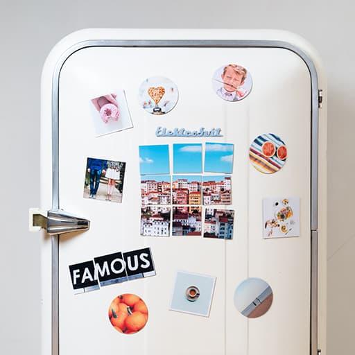 calamite e magneti circolari e quadrati personalizzati su frigorifero