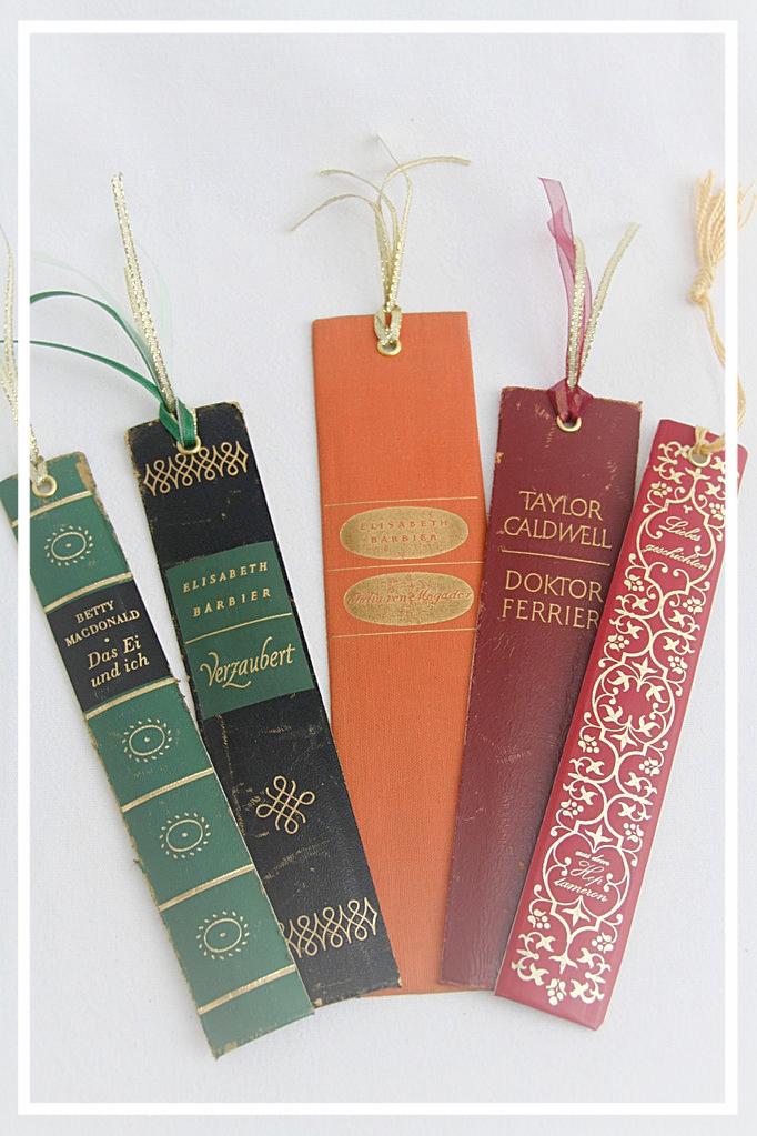 Lesezeichen hergestellt aus alten Buchrücken je 3,50€, nur Beispiel, andere Titel vorrätig