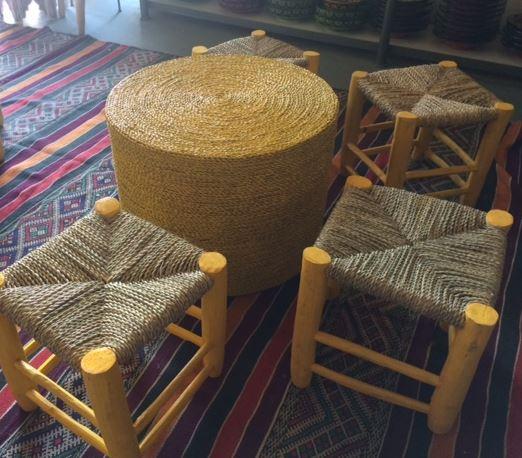 tabouret paille maroc