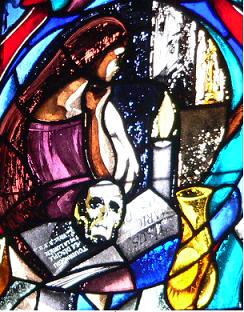 Maria Magdalena mit Salbgefäß, Buch und Schädel, Fenster in Sainte Baume