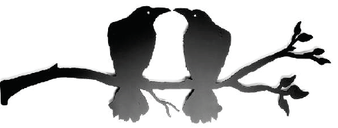 Kissing Ravens on branch 9 x 27  $98