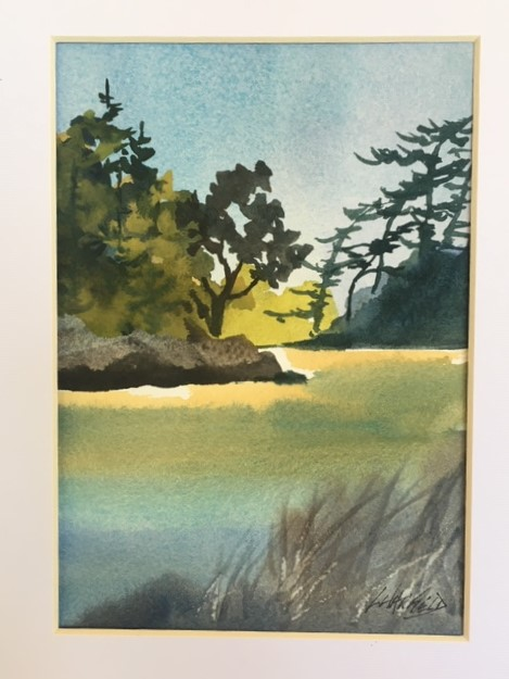 Just Beyond the Reeds the Fish Are Biting 7 x 5 watercolour (matted 10 x 8)