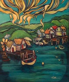Little Villages #2 18 x 24 acrylic