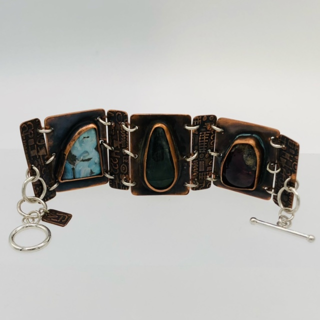 NORTH MEETS SOUTH - articulated bracelet Hand-etched copper Sterling Silver  Boulder Opal Labradorite Amethyst cabochons 170-