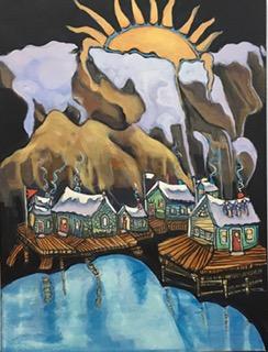 Little Villages #4 18 x 24 acrylic