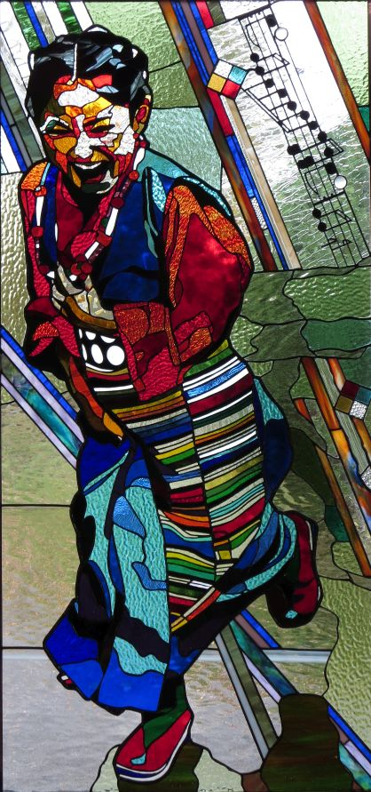 JOYOUS IN THE RAIN  48 X 23  inches stained glass