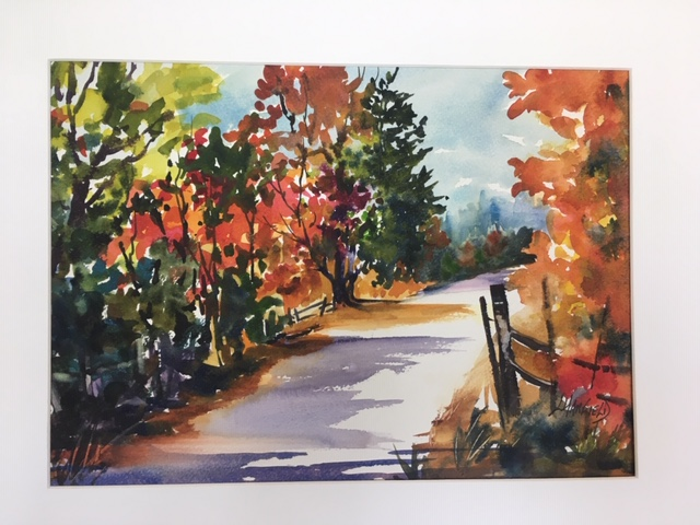 Follow the Road 11 x 14 watercolour (matted 16 x 20)
