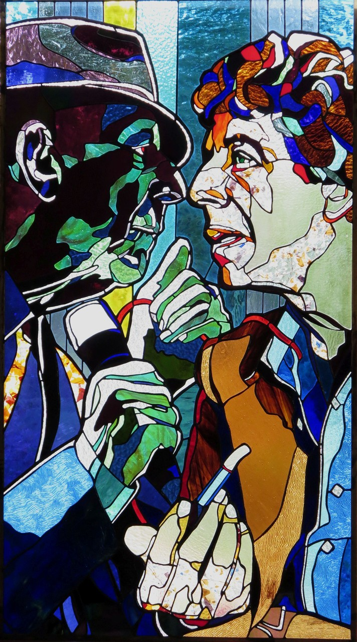 LEONARD COHEN 26 x 47 inches stained glass, photo by Hadyn Butler