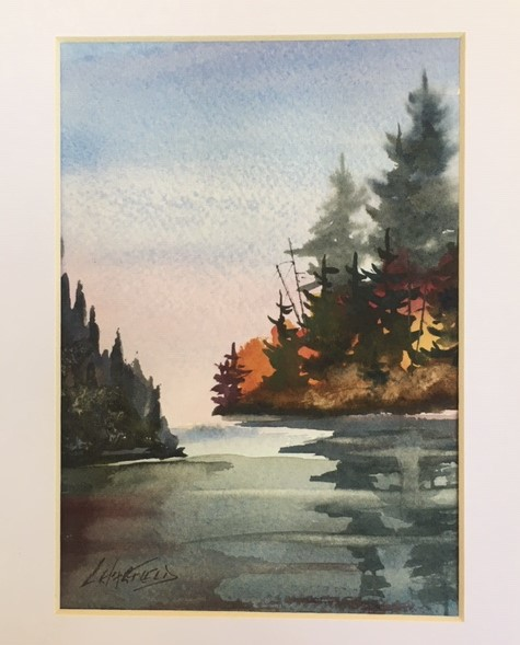 Pink Sunset Always Nice 7 x 5 watercolour (matted 10 x 8)