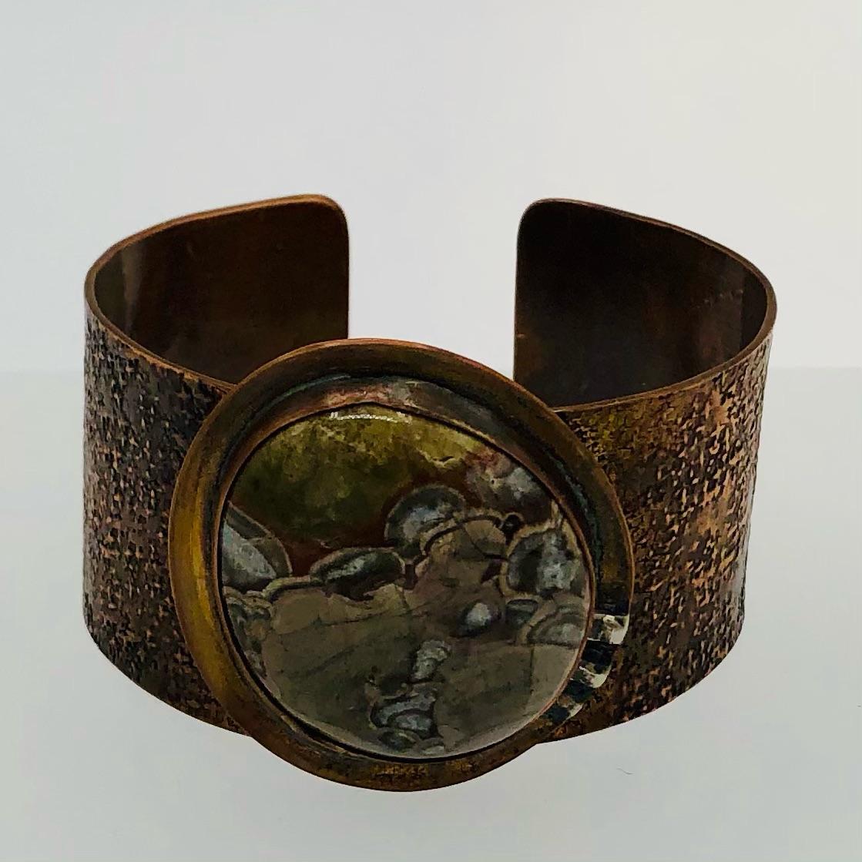 RIDGE LINE – cuff  hand hammered copper Mushroom Jasper cabochon 120-