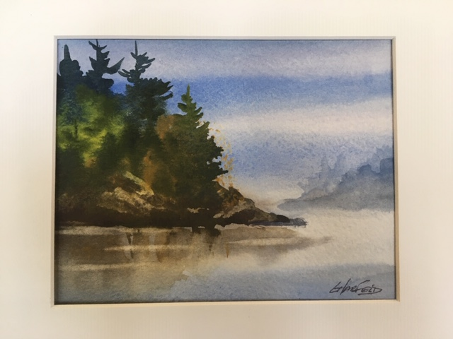 Perfect Morning to Fish  5 x 7 watercolour (matted 8 x 10)